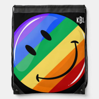 Glossy Round Smiling Gay Lgbt Pride Flag Drawstring Bag