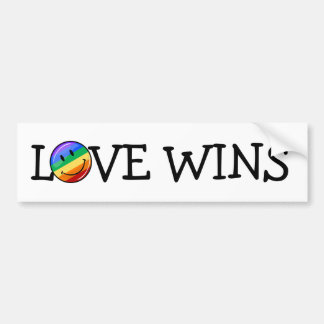 Glossy Round Smiling Gay Pride Flag Bumper Sticker
