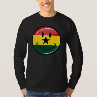 Glossy Round Smiling Ghanian Flag T-Shirt
