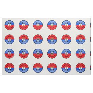 Glossy Round Smiling Haitian Flag Fabric