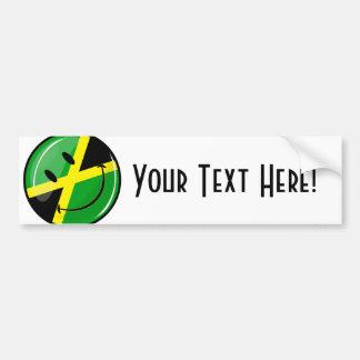 Glossy Round Smiling Jamaican Flag Bumper Sticker