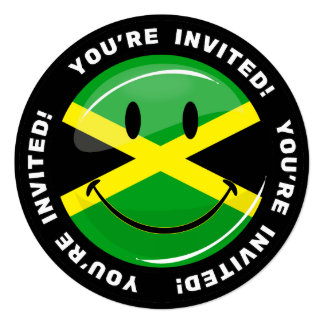 Glossy Round Smiling Jamaican Flag 13 Cm X 13 Cm Square Invitation Card
