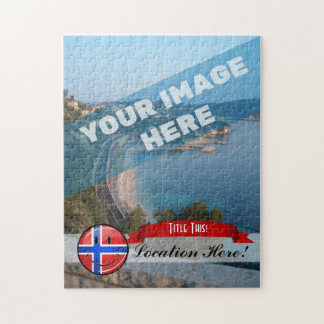 Glossy Round Smiling Norwegian Flag Jigsaw Puzzle