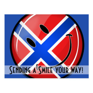 Glossy Round Smiling Norwegian Flag Postcard