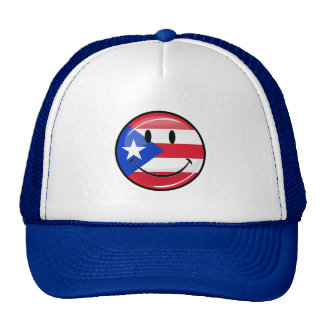 Glossy Round Smiling Puerto Rican Flag Trucker Hat