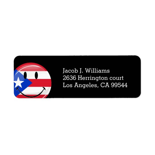 Glossy Round Smiling Puerto Rican Flag Return Address Label