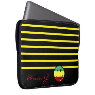 Glossy Round Smiling Rasta Colors Flag Laptop Sleeve
