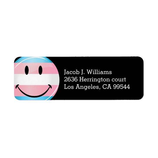Glossy Round Smiling Transgender Flag Return Address Label
