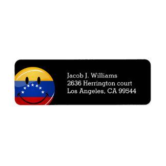Glossy Round Smiling Venezuelan Flag Return Address Label