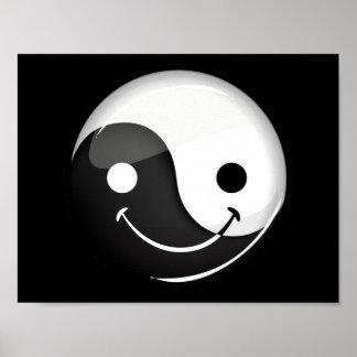 Glossy Round Smiling Yin Yang Symbol Poster