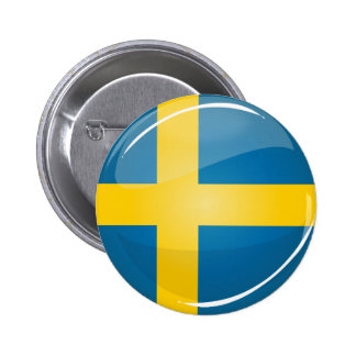 Glossy Round Swedish Flag 2 Inch Round Button