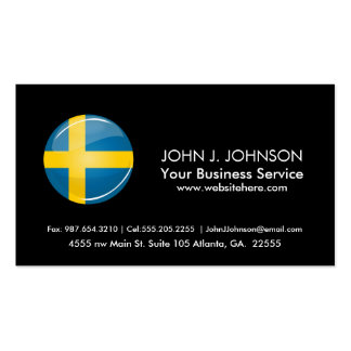 Glossy Round Swedish Flag Pack Of Standard Business Cards