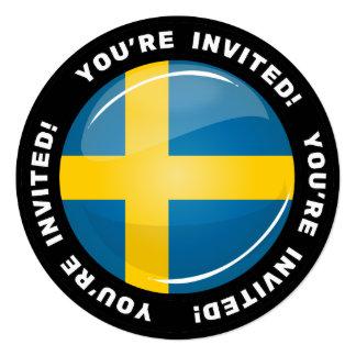 "Glossy Round Swedish Flag 5.25"" Square Invitation Card"