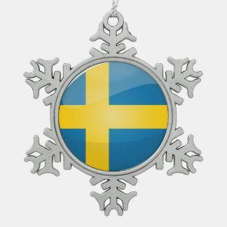 Glossy Round Swedish Flag Pewter Snowflake Decoration