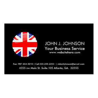 Glossy Round UK English Flag Pack Of Standard Business Cards