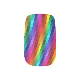 Glossy Shiny Rainbow Stripes Minx Nails Minx Nail Art