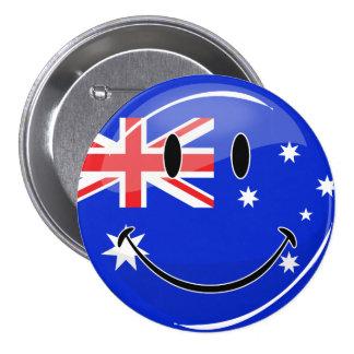 Glossy Smiling Australian Flag 7.5 Cm Round Badge