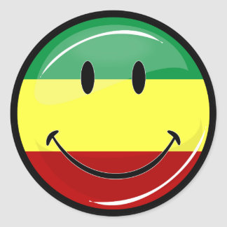 Glossy Smiling Rasta Colors Flag Classic Round Sticker