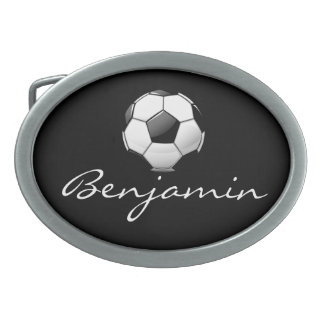 Glossy Soccer Ball Oval Belt Buckle