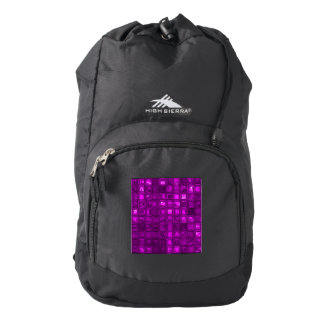 glossy tiles,hot pink (I) Backpack
