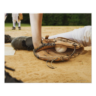 Glove of baseball player tagging runner out, poster