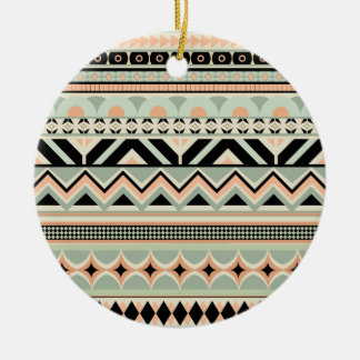 Glow aztec pattern round ceramic decoration