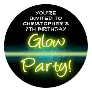 Glow Birthday Party, Yellow/Green Blacklight Invitations