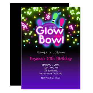 Glow Bowl Bowling Neon Stars Birthday Party Card