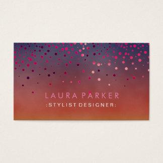 Glow Glitter Pink Confetti Elegant Sky Business Card
