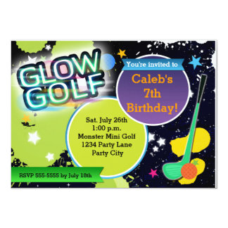 Glow Golf Monster Mini Golfing Party Invitation