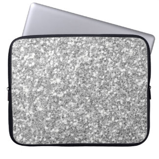 Glow Grey And White Glitter Texture Laptop Computer Sleeve
