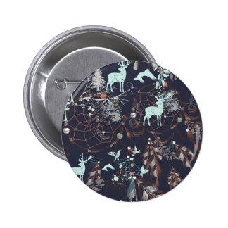 Glow in dark nature boho tribal pattern 6 cm round badge
