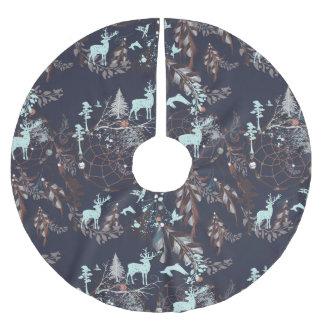 Glow in dark nature boho tribal pattern brushed polyester tree skirt