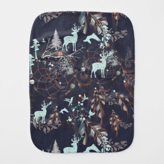 Glow in dark nature boho tribal pattern burp cloth