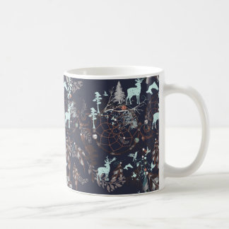 Glow in dark nature boho tribal pattern coffee mug