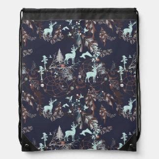 Glow in dark nature boho tribal pattern drawstring bag