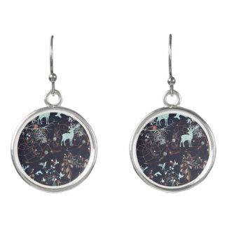 Glow in dark nature boho tribal pattern earrings