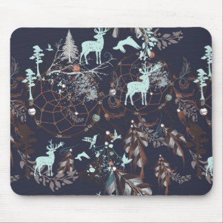 Glow in dark nature boho tribal pattern mouse pad