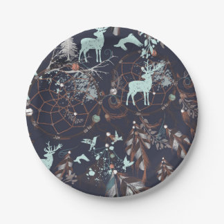 Glow in dark nature boho tribal pattern paper plate
