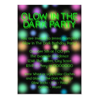 "Glow In The Dark Birthday Party 5"" X 7"" Invitation Card"
