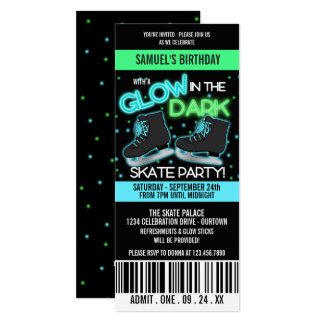 Glow in the Dark Ice Skating Party Card