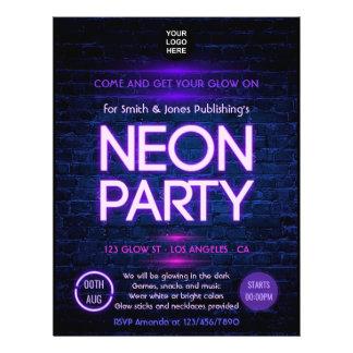 Glow in the Dark Neon Corporate party invitation Flyer