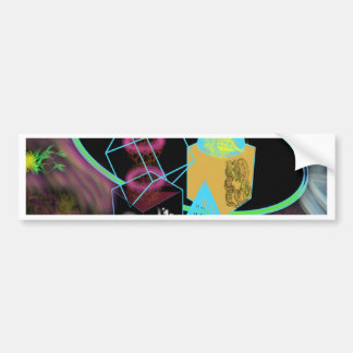 Glow in the dark shapes surrounded by space dust bumper sticker