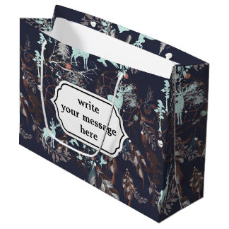 Glow in the dark tribal boho pattern large gift bag