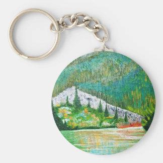 glow of the lake # 9 basic round button key ring