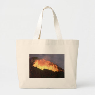 glow of volcanic fire large tote bag