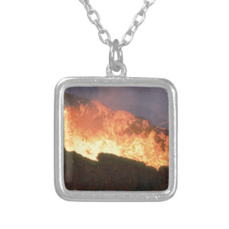 glow of volcanic fire silver plated necklace