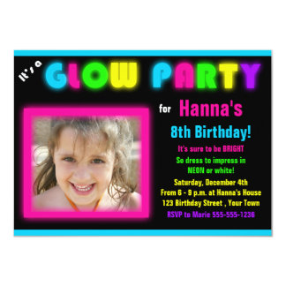 Glow Party Birthday Invitation Custom Photo