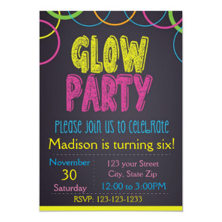 Glow Party Chalkboard Birthday Invitation