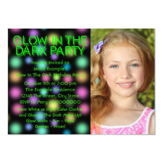Glow Party Neon Glow In The Dark Birthday Party Card